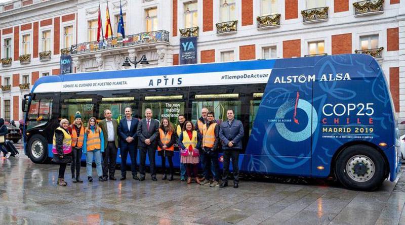 Alsa trasladó a los voluntarios de la COP25 en un autobús eléctrico