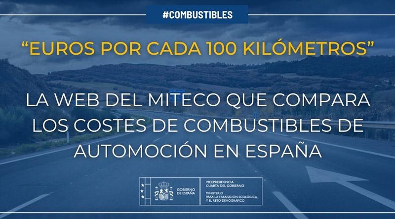 """El MITECO lanza la web """"Euros por cada 100 kilómetros"""" con información comparativa sobre el coste de los combustibles en automoción"""